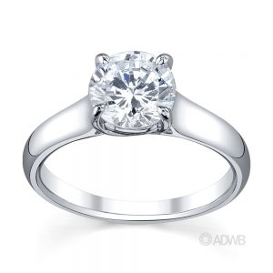 Australian Diamond Broker - Cross claw round brilliant cut diamond solitaire ring with wide band