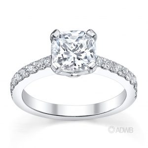 Australian Diamond Broker - Jenna cushion cut diamond ring with micro pave set side diamonds