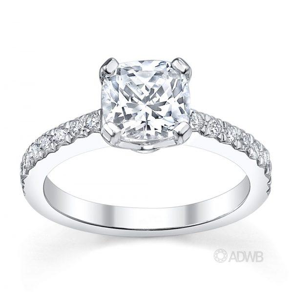 Australian Diamond Broker - Jenna cushion cut diamond ring with micro pave set side diamonds