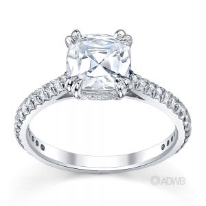 Australian Diamond Broker - Corsica cushion cut ring with french diamond pave set band