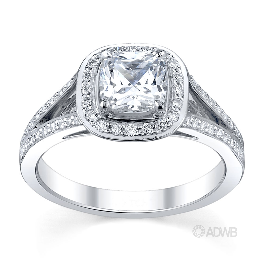 Australian Diamond Broker - Split band diamond halo engagement ring