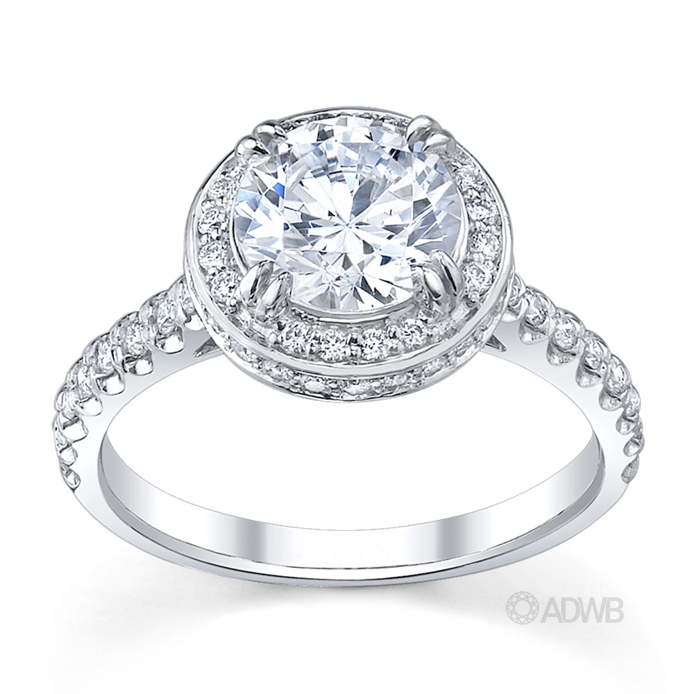 Australian Diamond Broker - Regal diamond halo engagement ring