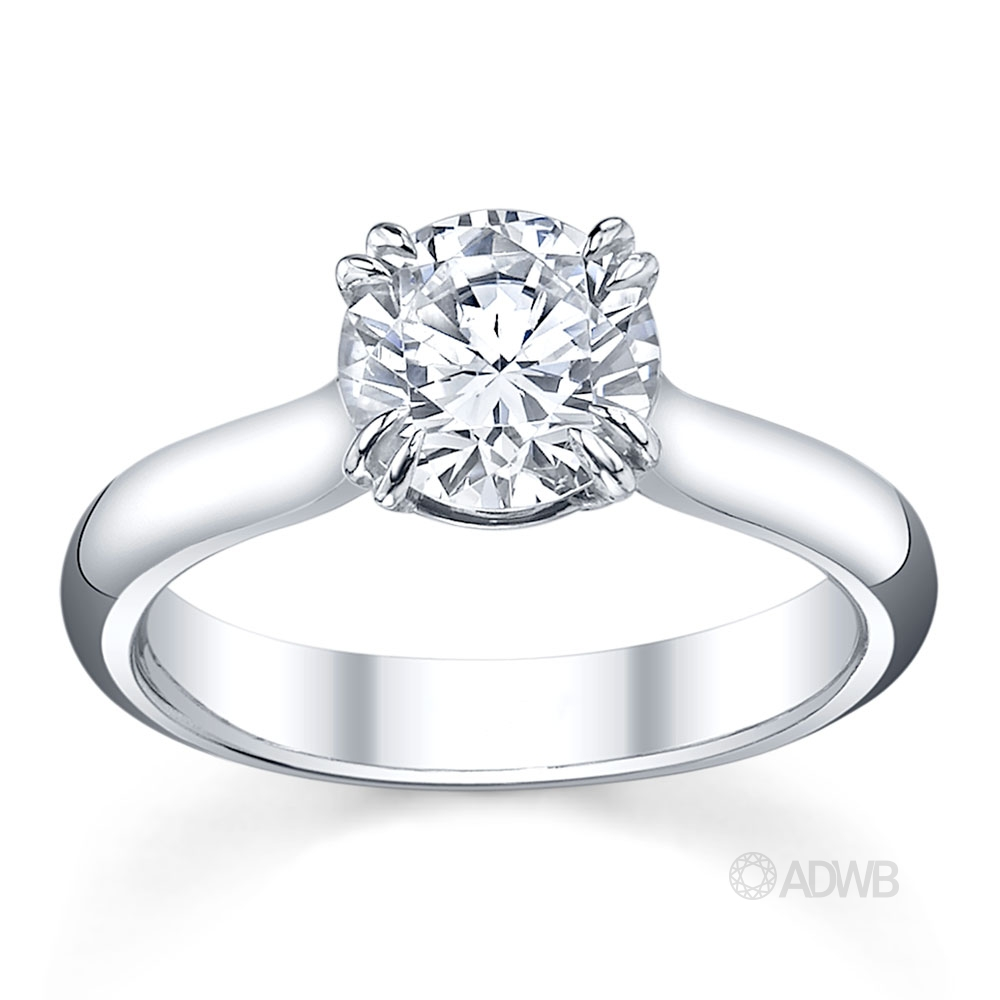 Australian Diamond Broker - Double claw round brilliant cut diamond solitaire ring