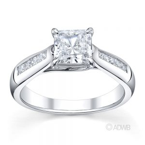 Australian Diamond Broker - Cross prong princess cut ring with channel set princess cut side diamonds tapered out band