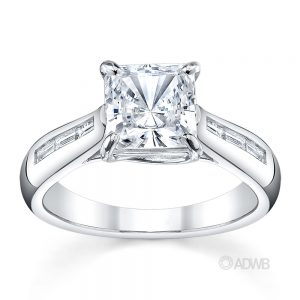 Australian Diamond Broker - Cross prong princess cut ring with channel set baguette diamonds