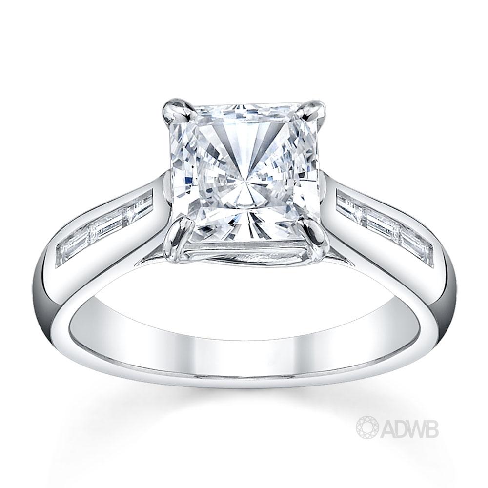 Australian Diamond Broker - Cross prong princess cut ring with channel set baguette diamonds