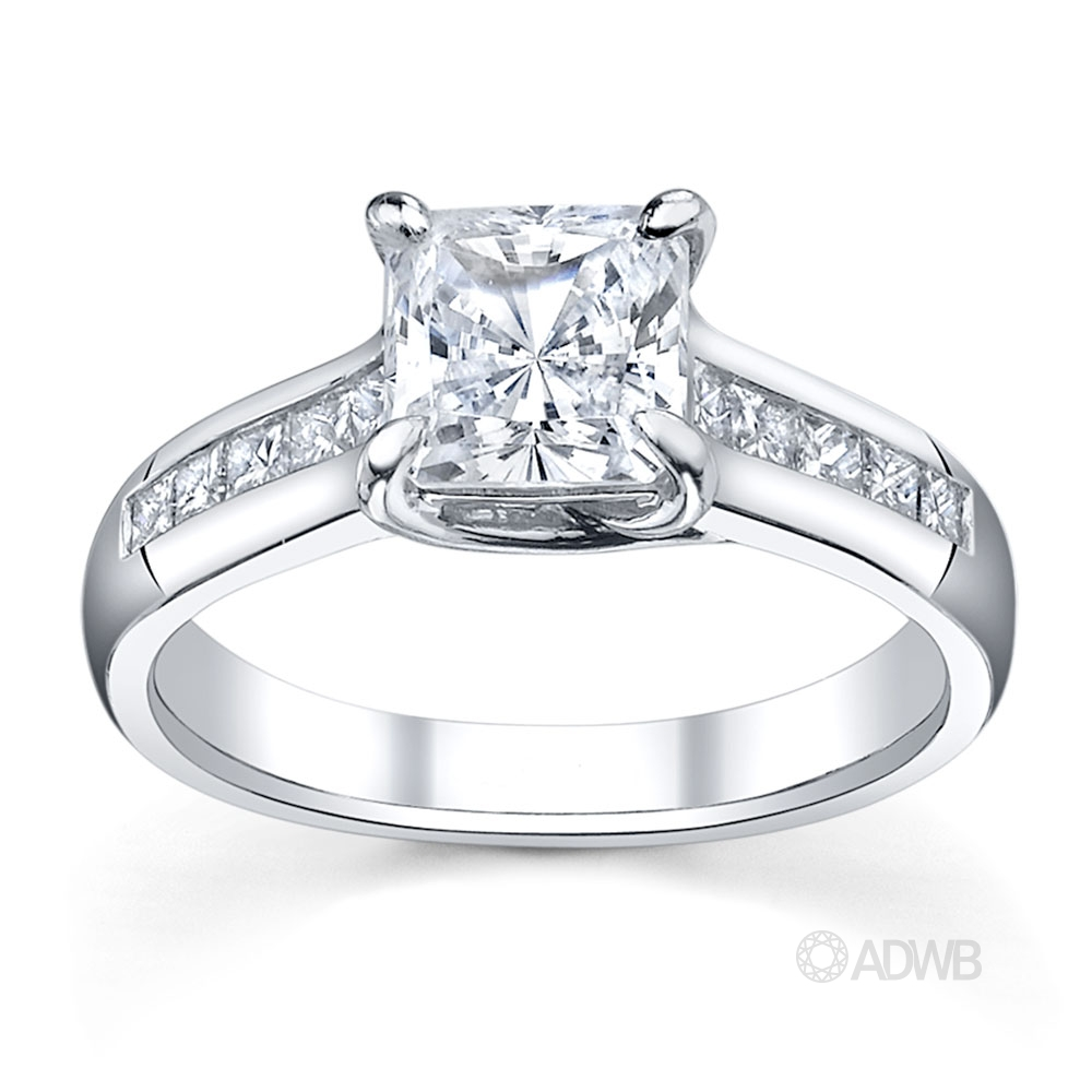 Australian Diamond Broker - Cross prong princess cut ring with channel set princess cut diamonds