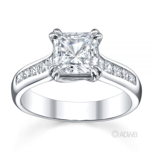 Australian Diamond Broker - Cross double prong princess cut ring with channel set princess cut side diamonds