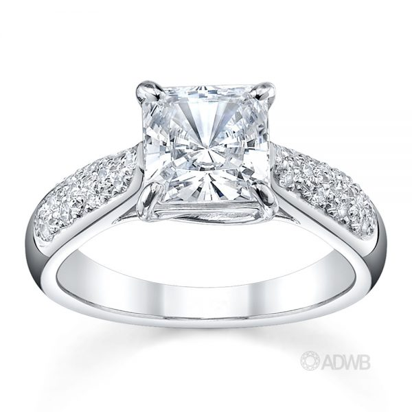 Australian Diamond Broker - Cross claw solitaire princess cut diamond ring with tapered round brilliant cut diamond pave set band