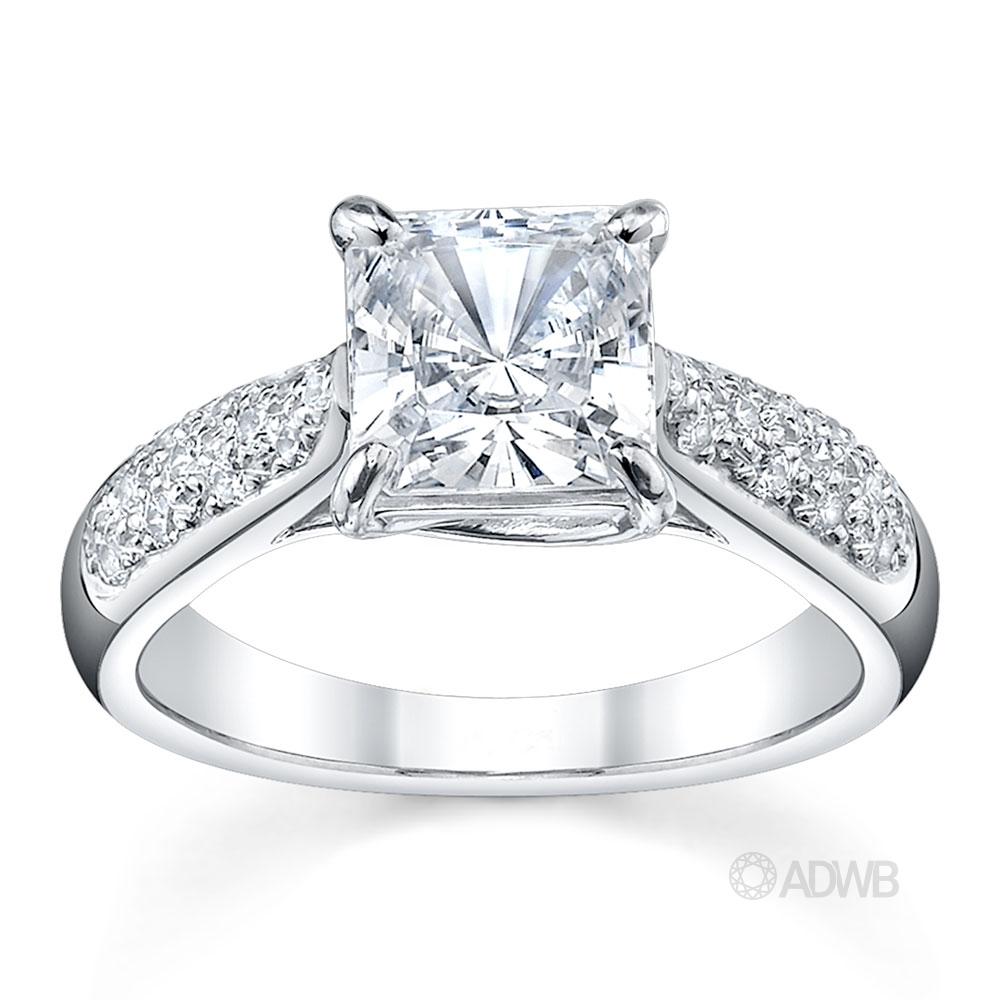 Australian Diamond Broker - Cross claw solitaire princess cut diamond ring with tapered round brilliant cut diamond pave set band