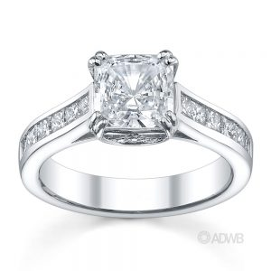 Australian Diamond Broker - Double prong cushion cut ring with channel set princess cut diamonds