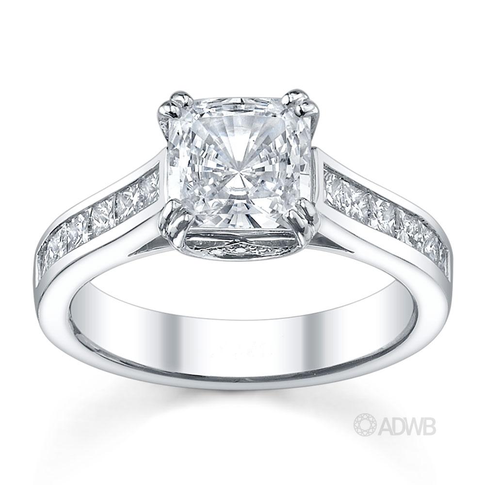 Australian Diamond Broker - Double prong cushion cut ring with channel set princess cut diamonds