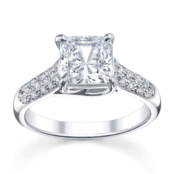Australian Diamond Broker - Cross claw princess cut ring with round brilliant cut diamonds pave set band