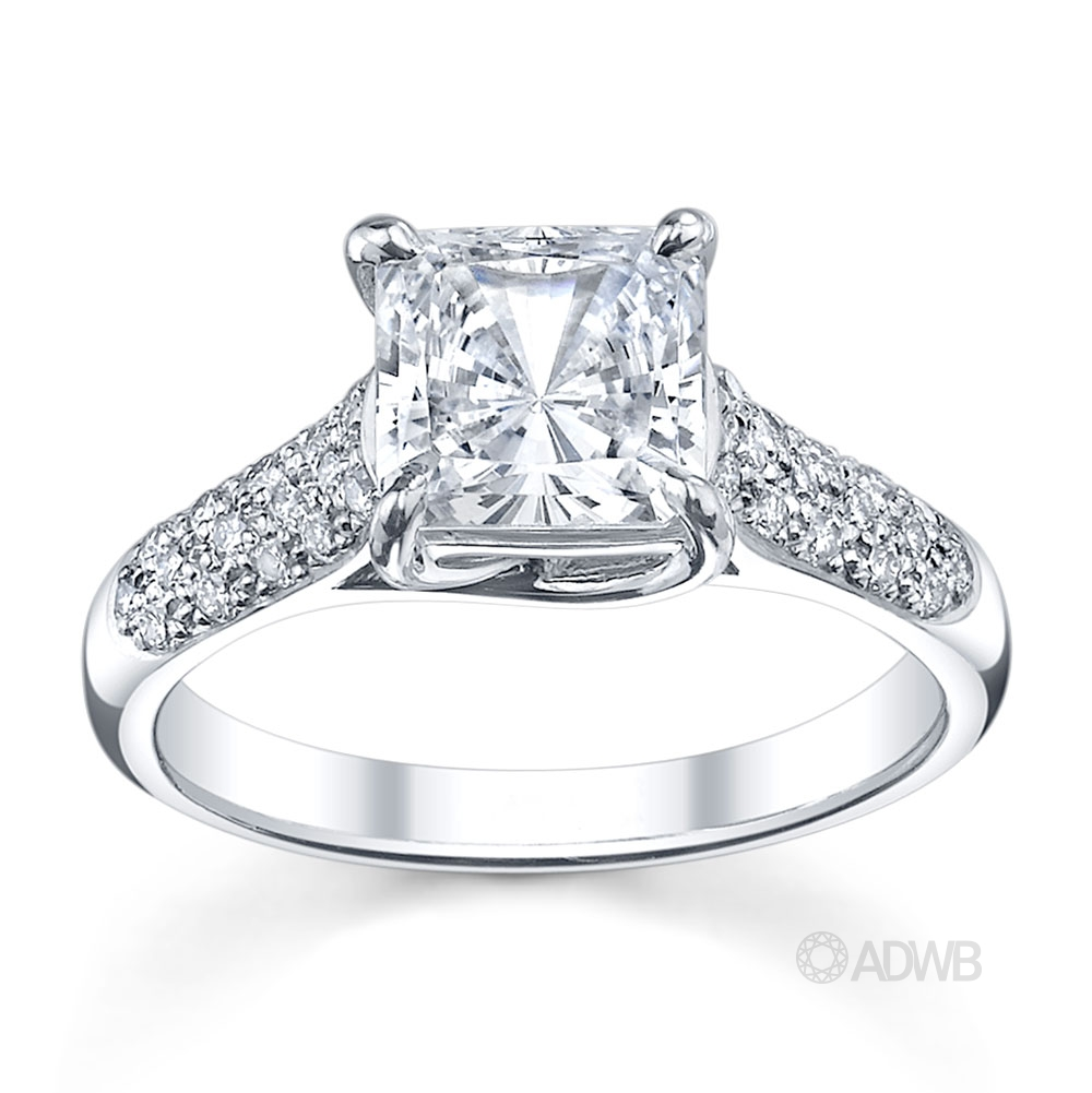 Australian Diamond Broker - Cross claw princess cut ring with round brilliant cut diamonds pave set band