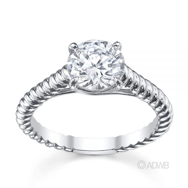 Australian Diamond Broker - Rene round brilliant cut diamond solitaire rope band ring