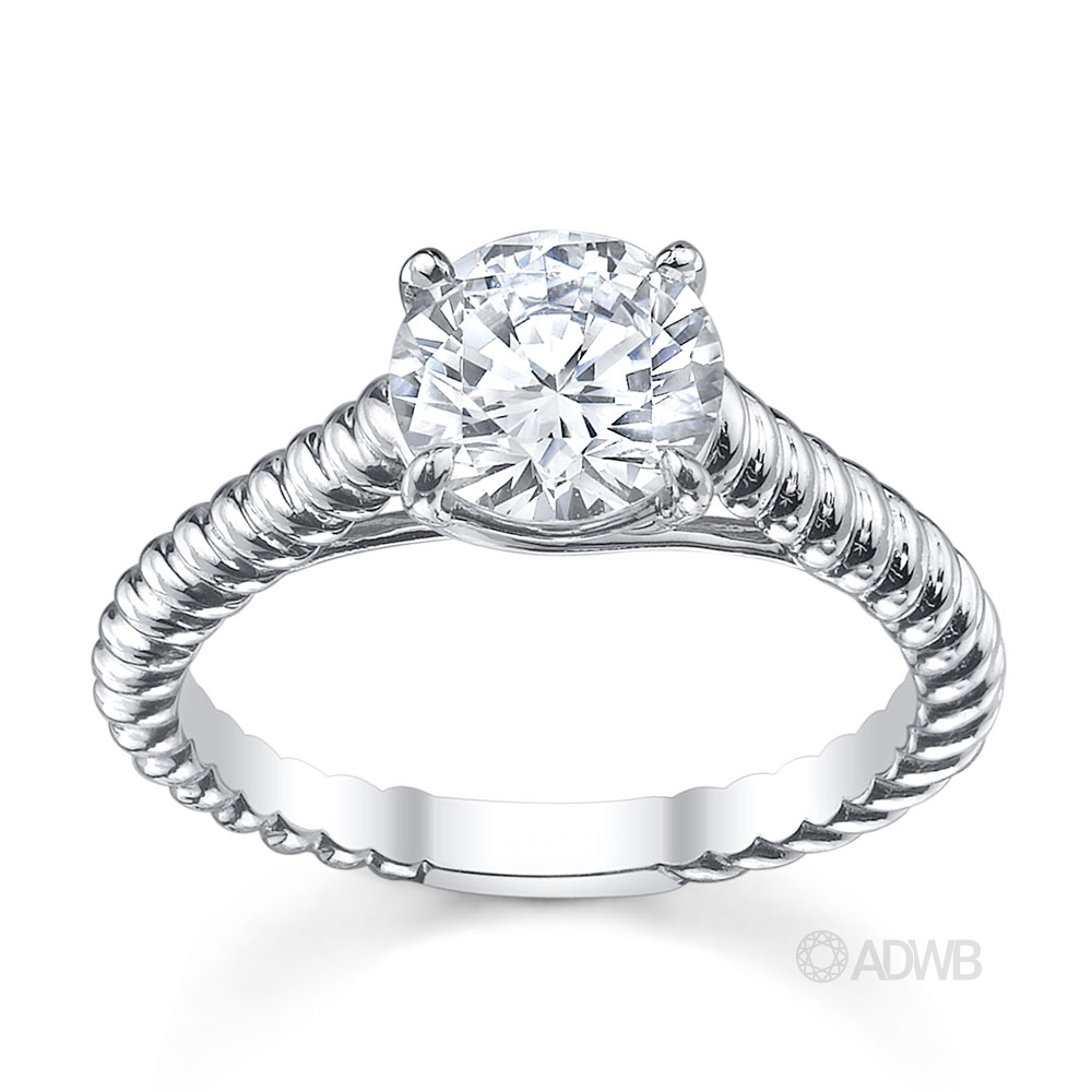 Australian Diamond Broker - Rene round brilliant cut diamond solitaire rope band ring