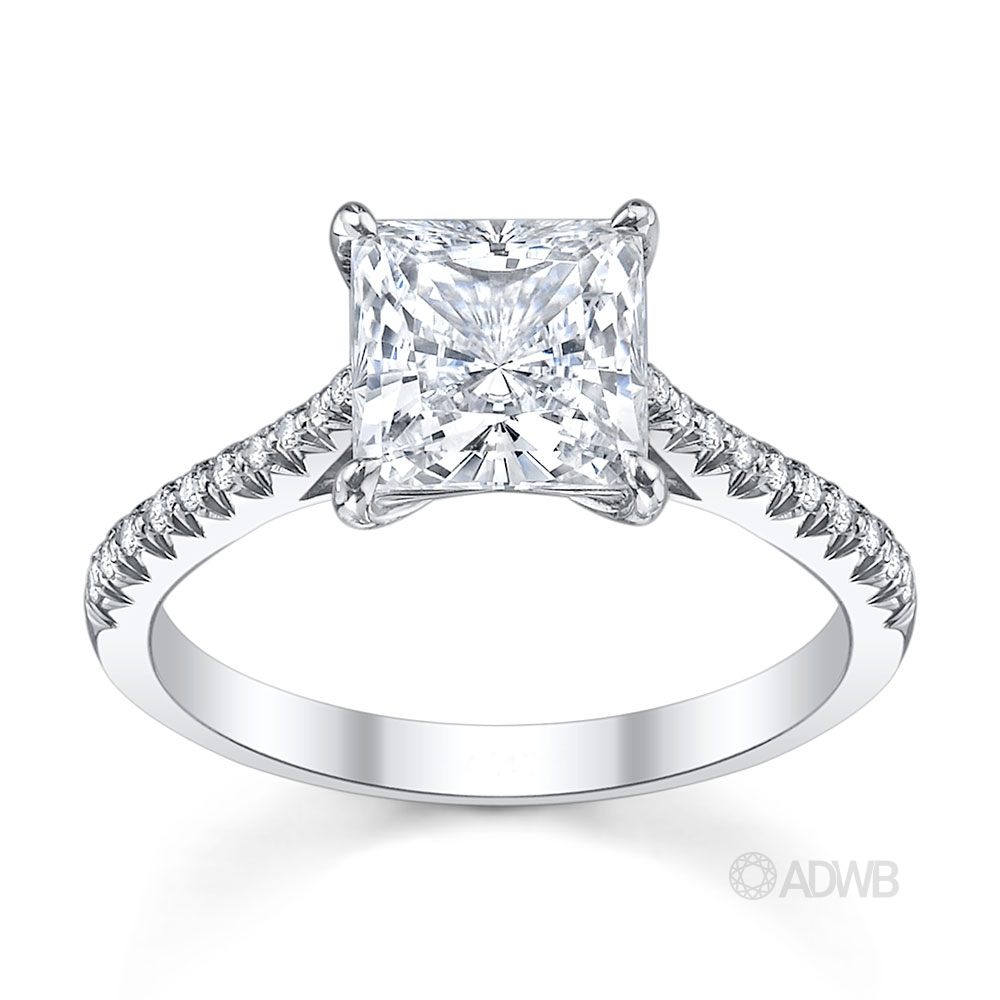 Australian Diamond Broker - Emily princess cut diamond solitaire ring with french pave set diamond band