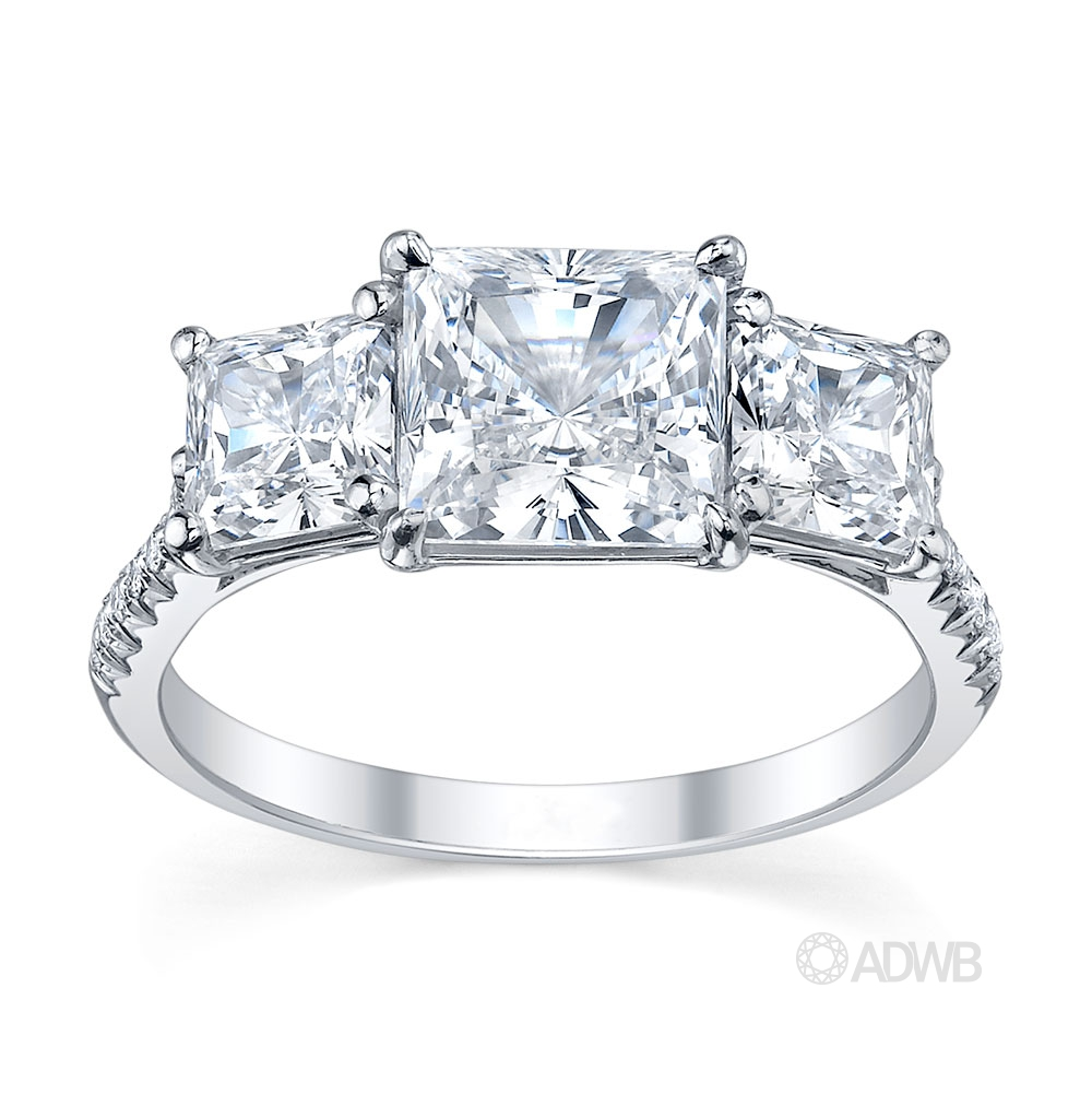 Australian Diamond Broker - Classic 3 stone princess cut diamond ring with french pave set diamond band
