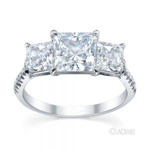 Australian Diamond Broker - Serenity 3 stone princess cut diamond ring - micro pave set band