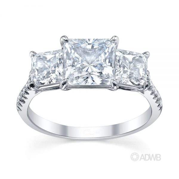 Australian Diamond Broker - Serenity 3 stone princess cut diamond ring - micro pave set band