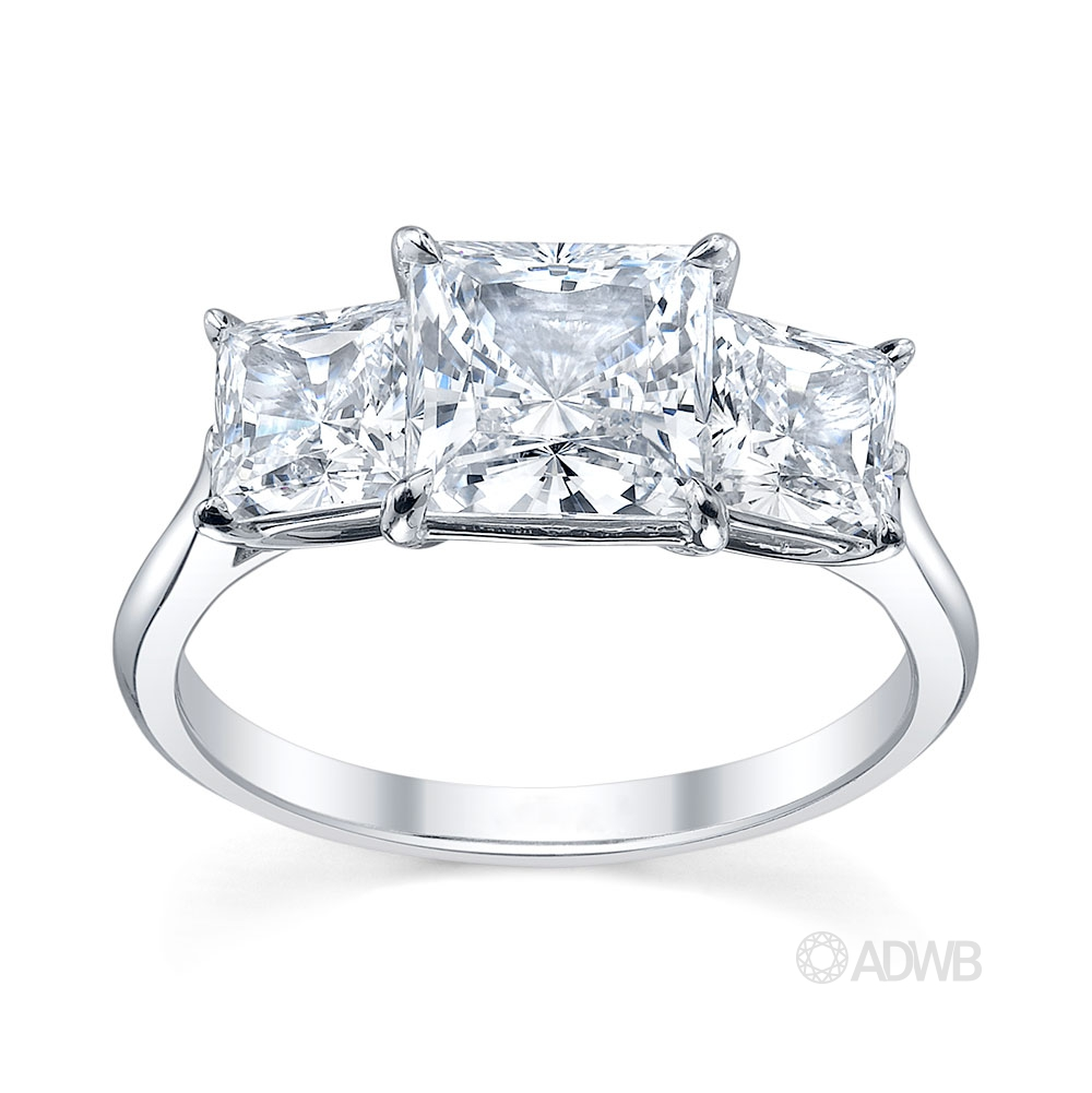 Australian Diamond Broker - Serenity 3 stone princess cut diamond ring