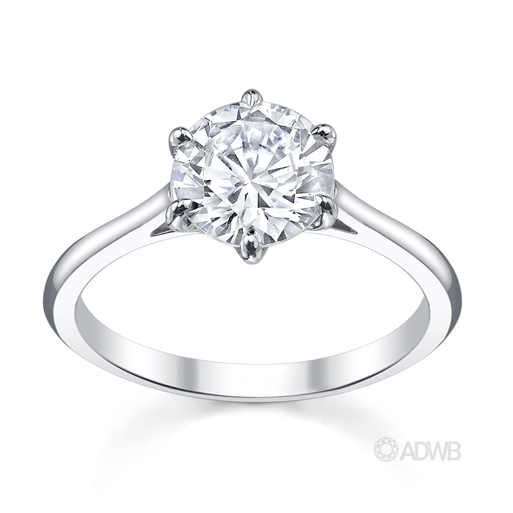 Australian Diamond Broker - Classic 6 claw round brilliant cut diamond ring