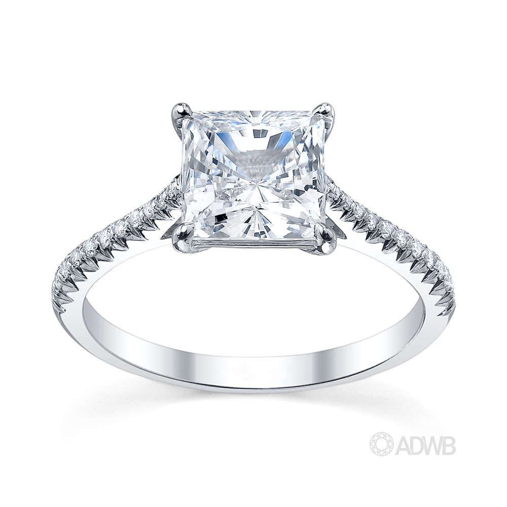 Australian Diamond Broker - Traditional princess cut diamond ring with micro pave set tapered band