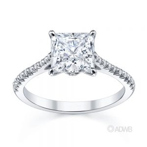 Australian Diamond Broker - Tiara princess cut diamond ring with french pave set diamond band