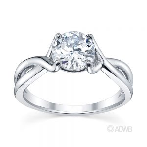 Australian Diamond Broker - Sophia curved split band round brilliant cut diamond solitaire ring