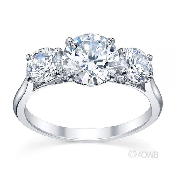 Australian Diamond Broker - Classic 3 stone round brilliant cut diamond ring