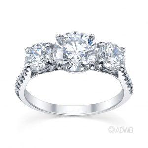 Australian Diamond Broker - Classic 3 stone round brilliant cut diamond ring with micro pave set diamond band