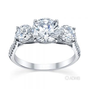 Australian Diamond Broker - Serenity 3 stone round brilliant cut diamond ring- micro pave set diamond band