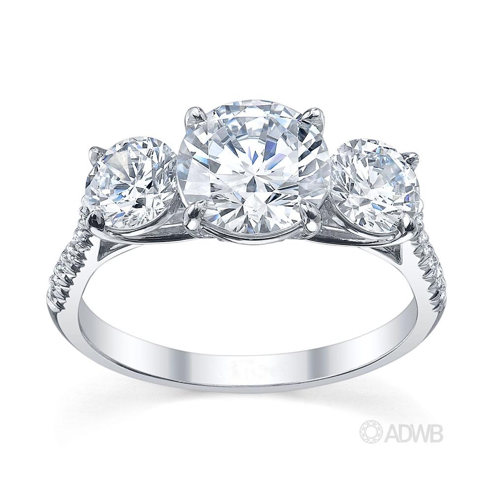 Australian Diamond Broker - Serenity 3 stone round brilliant cut diamond ring- micro pave set diamond band