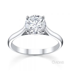 Australian Diamond Broker - Classic 4 claw round brilliant cut diamond ring