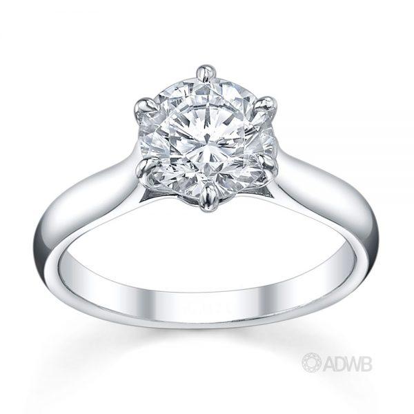 Australian Diamond Broker - Wide band 6 claw classic round brilliant cut diamond ring