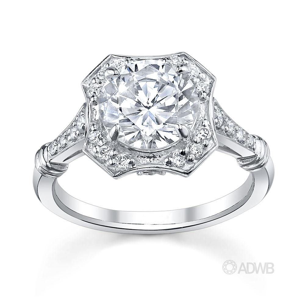 Australian Diamond Broker - Polly round brilliant cut diamond halo ring