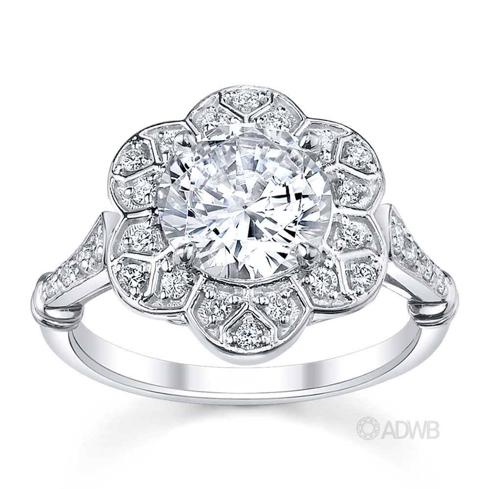 Australian Diamond Broker - Lotus Diamond halo engagement ring