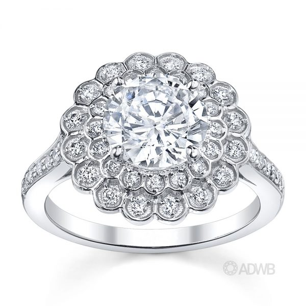 Australian Diamond Broker - Double halo diamond engagement ring