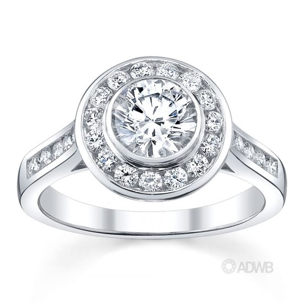 Australian Diamond Broker - Channel set diamond halo engagement ring