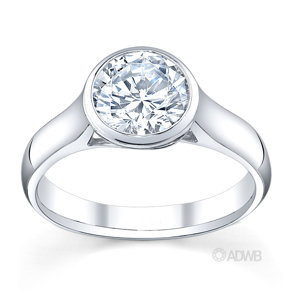 Australian Diamond Broker - Bezel set round brilliant cut diamond solitaire ring