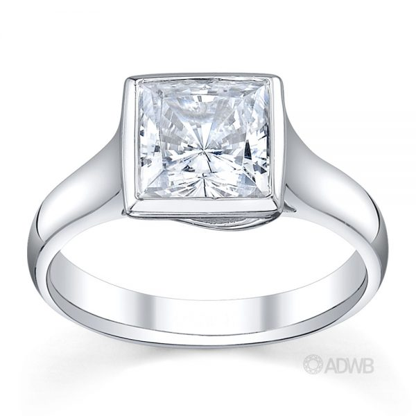 Australian Diamond Broker - Bezel set X prong princess cut diamond ring