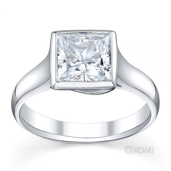 Australian Diamond Broker - Bezel set X prong princess cut diamond ring
