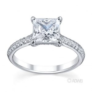 Australian Diamond Broker - Regal princess cut diamond ring with grain set diamond knife edge band