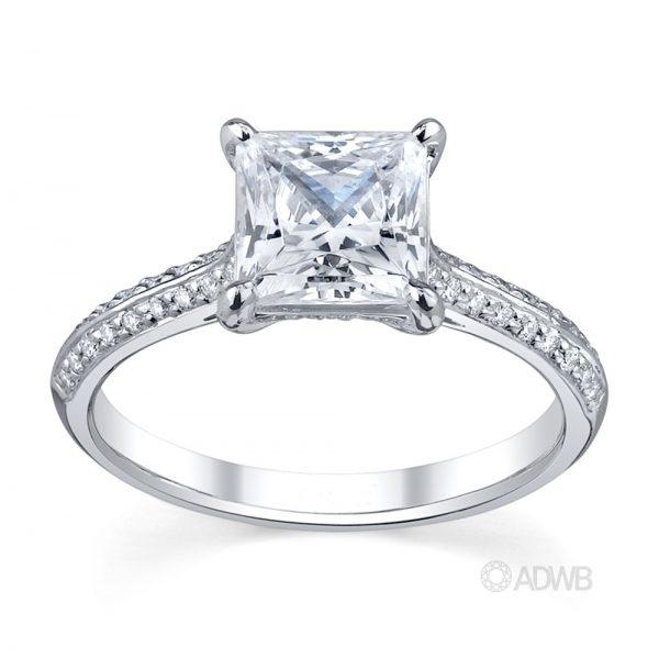 Australian Diamond Broker - Regal princess cut diamond ring with grain set diamond knife edge band