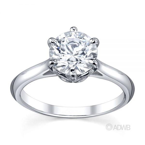 Australian Diamond Broker - Elegant 6 claw round brilliant cut diamond solitaire ring