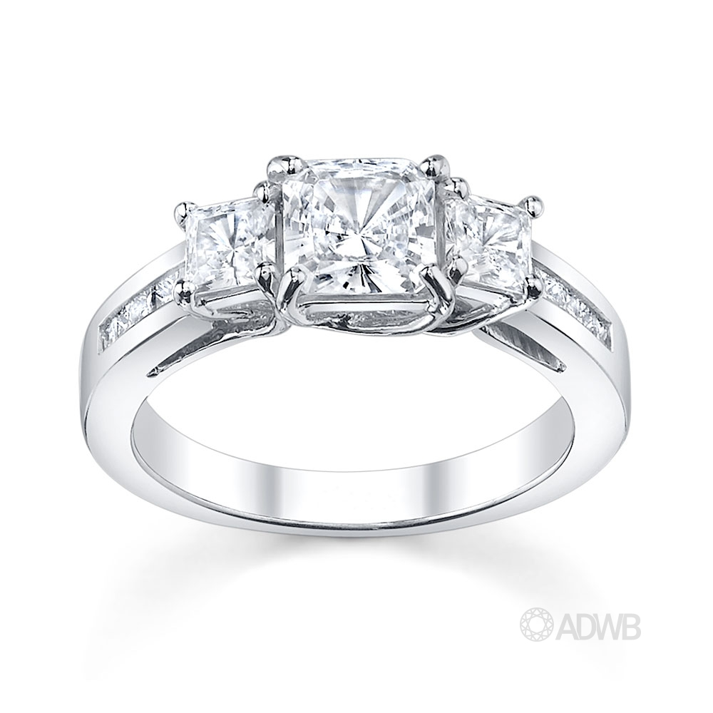 Australian Diamond Broker - Classic 3 stone princess cut diamond ring with princess cut channel set band