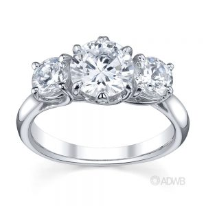Australian Diamond Broker - Royal crown 6 claw round brilliant cut 3 stone diamond ring