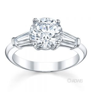 Australian Diamond Broker - Round brilliant tapered baguette 3 stone diamond ring
