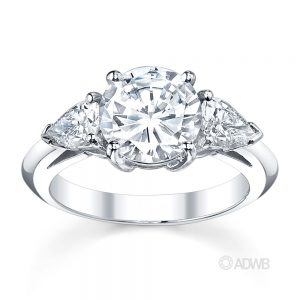 Australian Diamond Broker - Round brilliant and pear cut diamond 3 stone ring