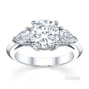 Australian Diamond Broker - Round brilliant and pear cut diamond 3 stone ring